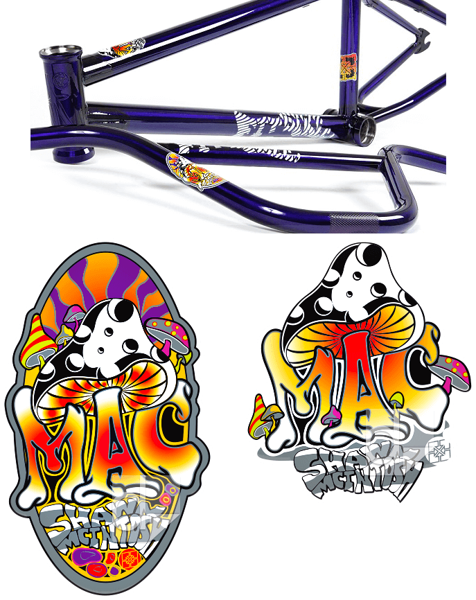 BMX Bike Decal Set Old School Printed on Clear Vinyl Custom Die Cut by Dilco for S&M Mac