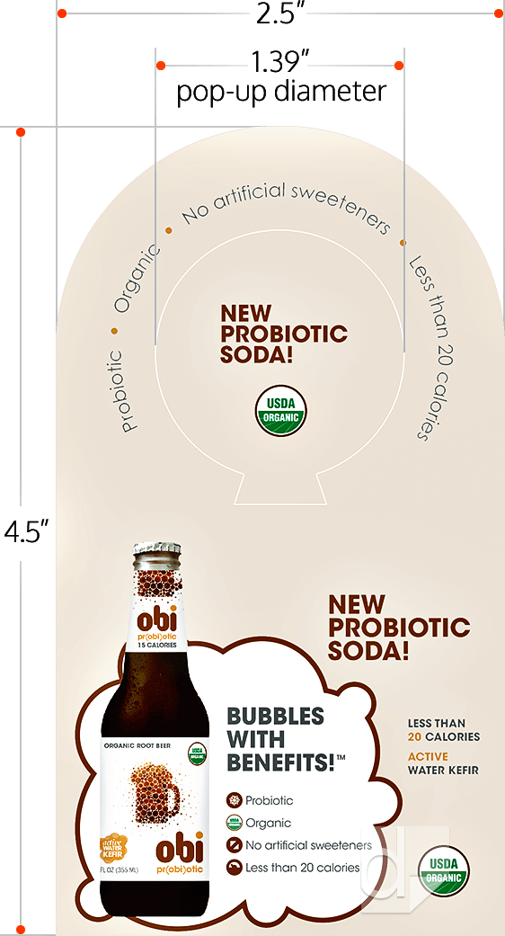 Dilco Pop-Up Bottle Necker Template Diagram 2.5x4.5 with Rounded Top, Square Bottom, and Keyhole Pop-Up