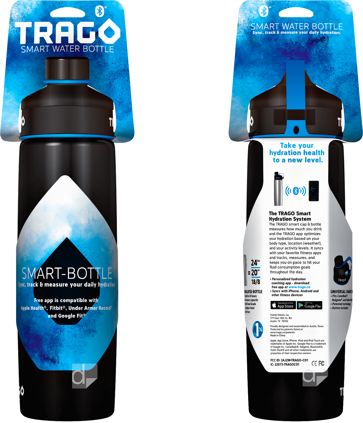 Double-Sided Custom Die Cut Bottle Necker Hang Tag Printing by Dilco for Trago Smart Water Bottle