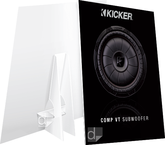 Easel-Back Counter Card Printed by Dilco on 24 pt Card Stock for Kicker Subwoofer