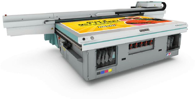 A picture of our EFI Rastek T1000 digital printer.