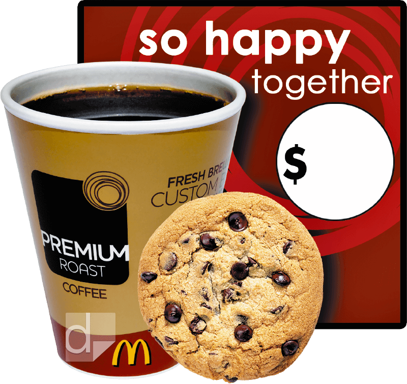 Custom printed vinyl decal for McDonald's with coffee and cookie shows photo-realistic quality
