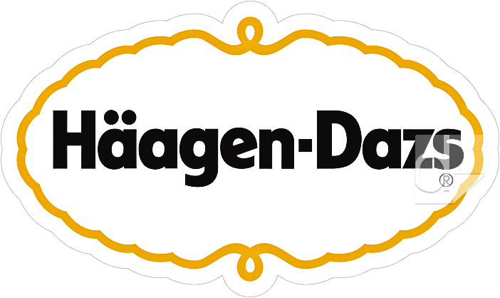 Full-color printed vinyl logo decal by Dilco for Haagen Dazs