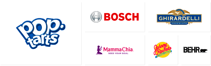 Logos of Dilco clients: Pop Tarts, Bosch, Mamma Chia, Ghiradelli, Johnny Rockets, and Behr.