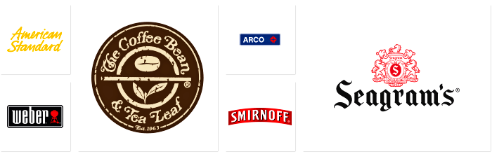 Logos of Dilco clients: American Standard, Weber, The Coffee Bean and Tea Leaf, Arco, Smirnoff, and Seagram's.