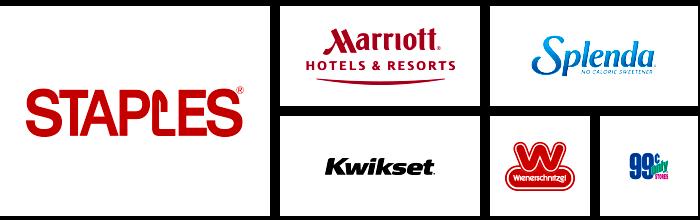 Dilco's clients' logos: Staples, Marriott, Kwikset, Splenda, Wienerschnitzel, and 99 Cents Only Stores.