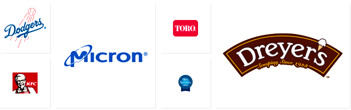 Logos of Dilco clients: Los Angeles Dodgers, KFC, Micron, Toro, Mrs. Smith's, and Dreyer's.