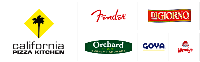 Dilco prints for companies represented by these logos: California Pizza Kitchen, Fender, Orchard Hardware, DiGiorno, Goya and Wendy's.