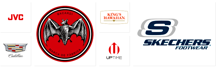 Logos of Dilco's clients including JVC, Cadillac, Bacardi, King's Hawaiian, Uptime, and Skechers.