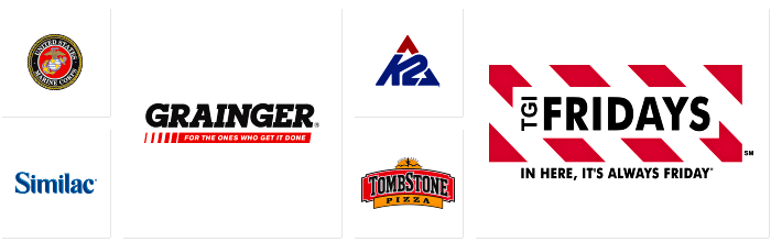 Logos of companies Dilco prints for: US Marine Corps, Similac, Grainger, K2, Tombstone, and TGI Friday's.