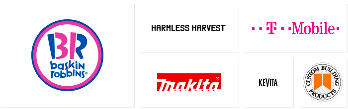 Logos of Dilco clients: Baskin Robbins, Harmless Harvest, Makita, T-Mobile, KeVita, and Custom Building Products.