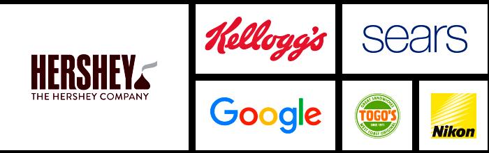 Logos of Dilco clients: Hershey, Kellogg's, Google, Sears, Togo's, and Nikon.