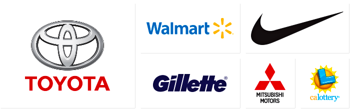 Logo's of companies Dilco prints for: Toyota, Walmart, Gillette, Nike, Mitsubishi, and the California State Lottery.