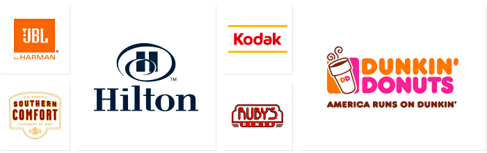 Some of Dilco's clients' logos for JBL, Southern Comfort, Hilton Hotels, Kodak, Ruby's Diner, and Dunkin' Donuts.