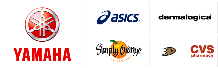 Dilco prints for these clients: Yamaha, Asics, Simply Orange, Dermalogica, Anaheim Ducks, and CVS Pharmacy.