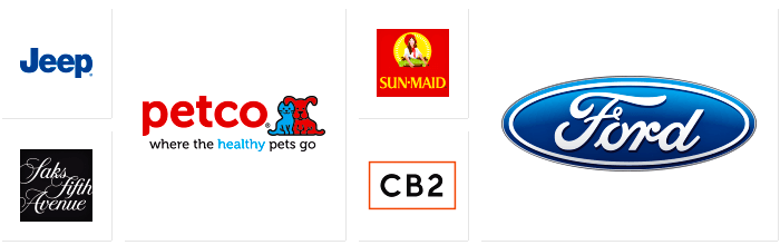 Dilco client logos for Jeep, Saks 5th Avenue, Petco, Sun-Maid, CB2, and Ford.