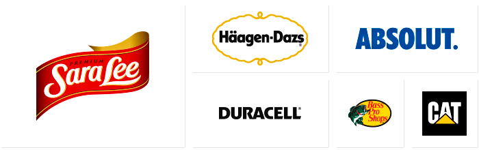 Logos of some of Dilco's clients, including Sara Lee, Haagen-Dazs, Duracell, Absolut, Bass Pro Shops, and CAT.
