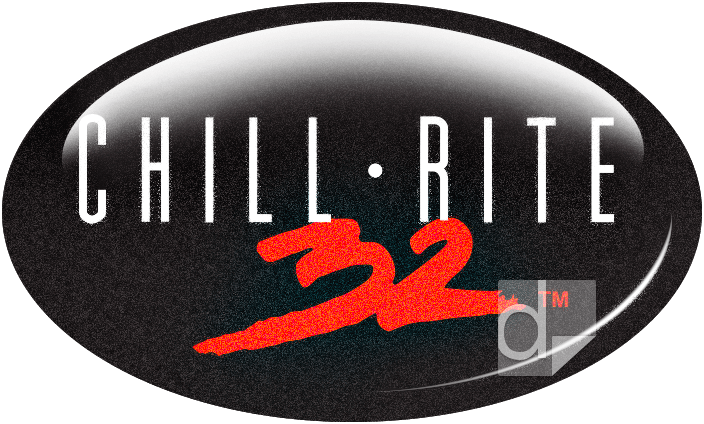 Glitter domed decal printed by Dilco for Chill Rite 32