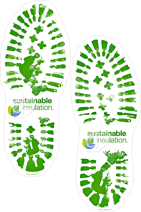 Example of custom die cut removable floor decals in the shape of shoe prints, screen printed 3 colors