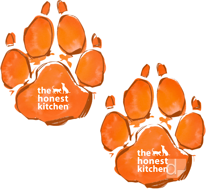 Printed floor graphic decals die cut in the shape of dog's paw prints for Honest Kitchen