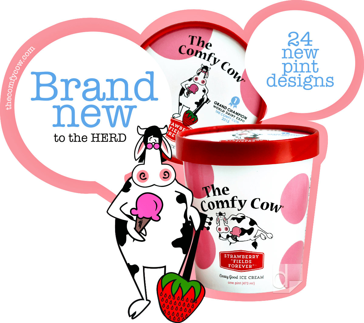 Freezer Cling Vinyl Decal Printed by Dilco for Comfy Cow.
