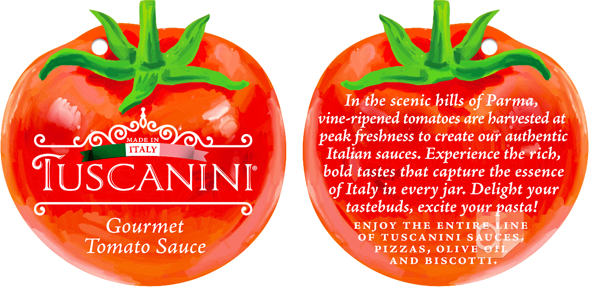 Double-Sided Paper Hang Tags Printed and Custom Die Cut by Dilco for Tuscanini Tomato