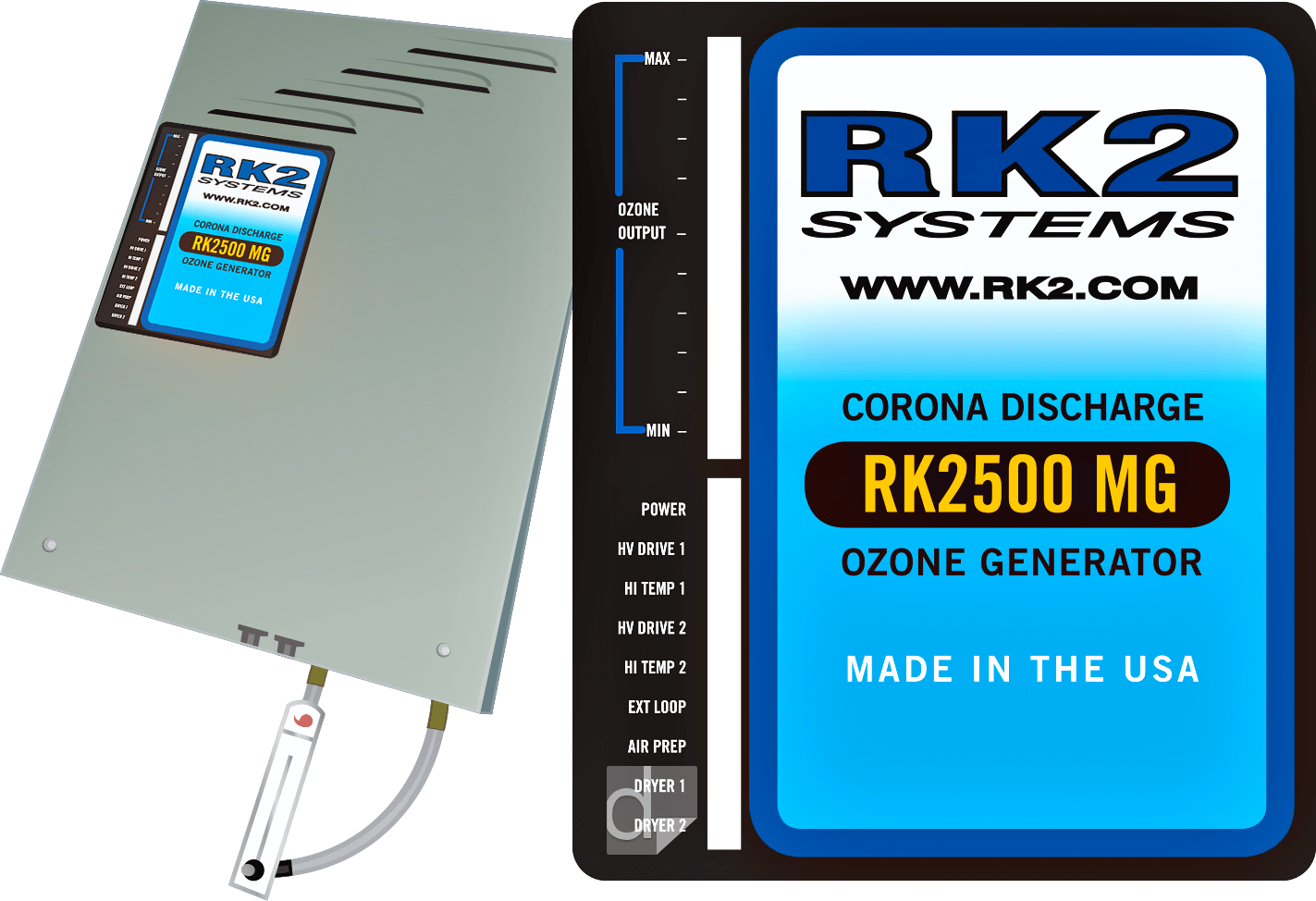 Custom die cut 5.5 inches by 6.5 inches Lexan label subsurface printed by Dilco for RK2
