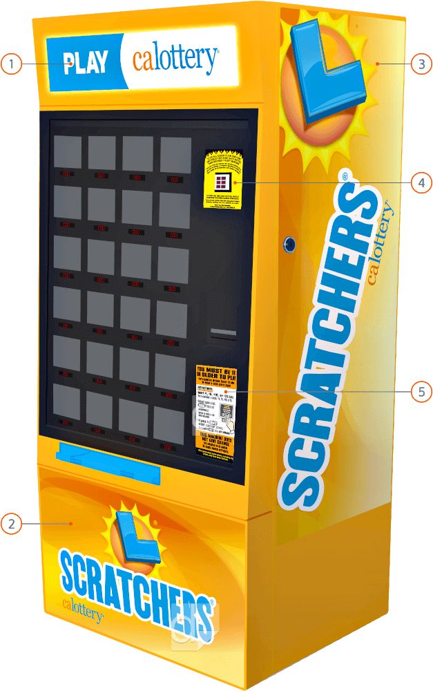 Lexan labels subsurface full-color printing on matte velvet polycarbonate and Duratrans printing, custom die cut to use as machine overlays, nameplates, and side panels of the California State Lottery Scratchers Machine.