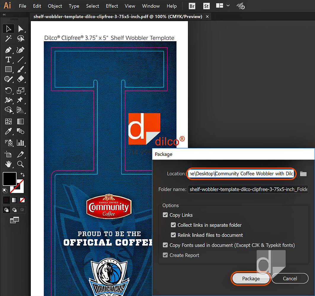 Location and options in Illustrator or InDesign Package diaglog box.