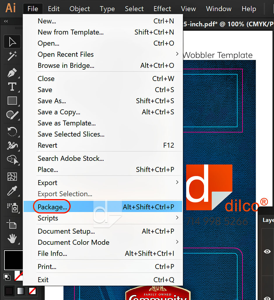 Screenshot of how to package file in Illustrator and InDesign.