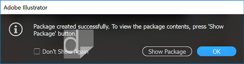 Illustrator package successfully created dialog box.
