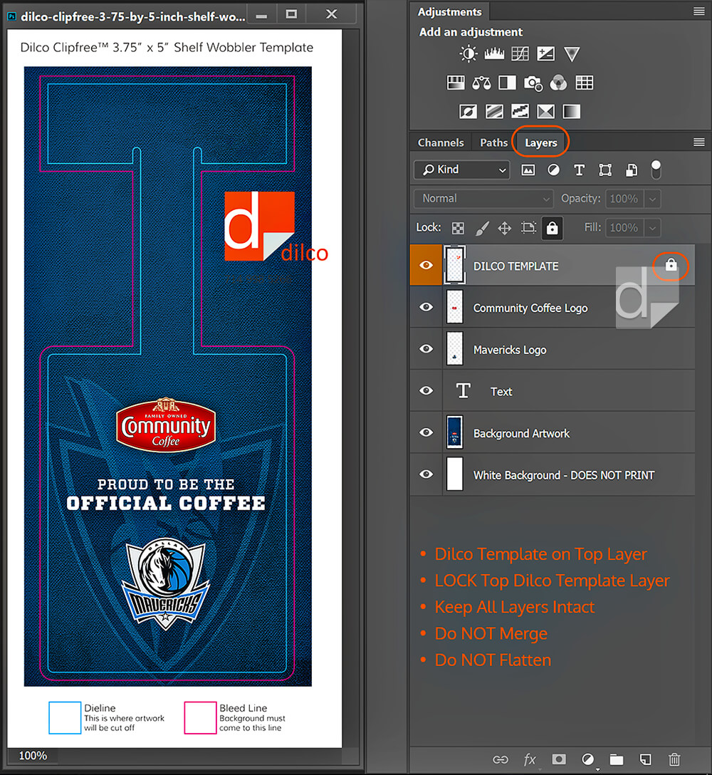 Screenshot from Photoshop of artwork on separate layers with Dilco template locked on top layer.