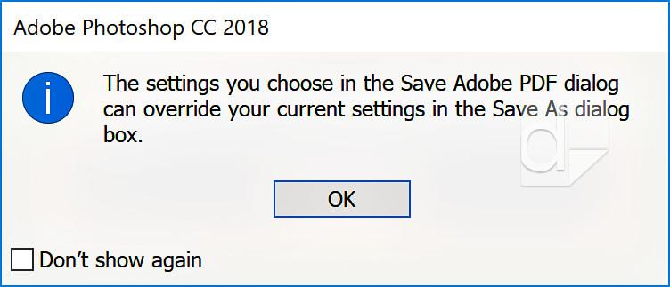 Photoshop save as PDF warning box.