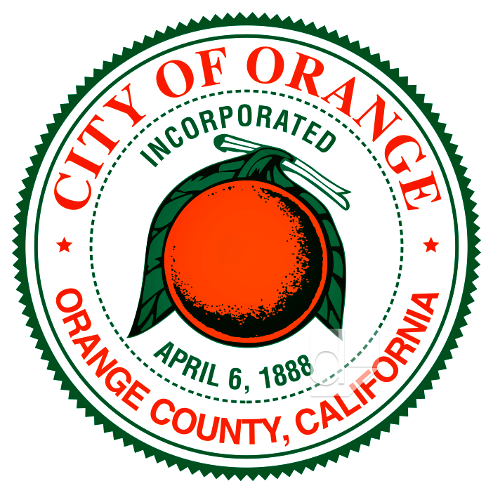 Screen printed round truck decal printed by Dilco for the City of Orange, California