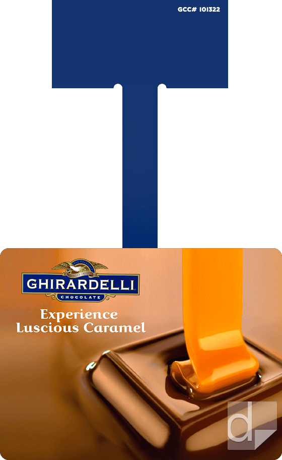 Clipfree Shelf Wobbler from 4x3 template printing by Dilco for Ghiradelli
