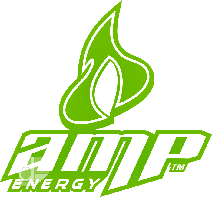 Green thermal die cut vinyl decal by Dilco for Amp Energy