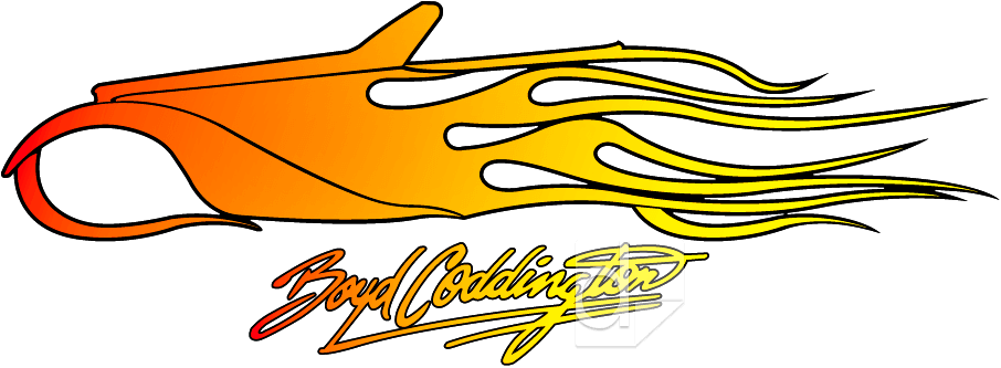 Illustration showing a decal for Boyd Coddington that Dilco first custom screen printed; then thermal die cut the shape.